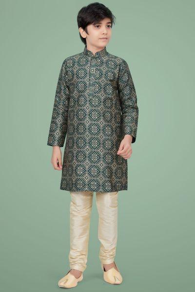 Dark Green Giccha Silk Boys Kurta Pajama (NKK-684)