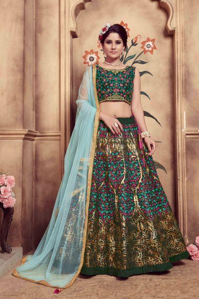 Dark Green Silk Party Wear Lehenga Choli (NWG-319)