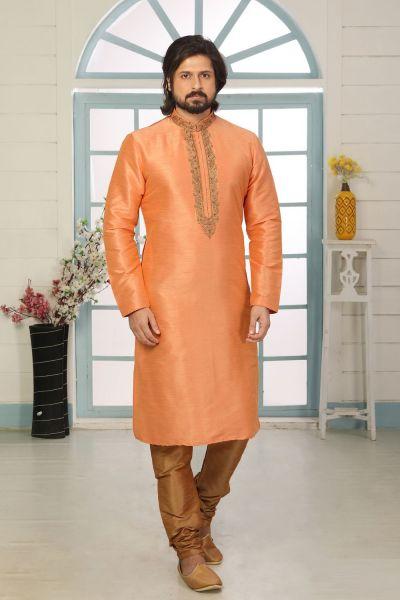 Dark Peach Art Banarasi Silk Kurta Pajama (NMK-5054)