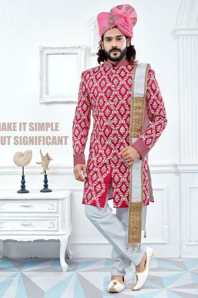 Dark Pink Banglori Silk Sherwani (NMK-4113)