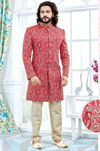 Dark Pink Banglori Silk Sherwani (NMK-4129)