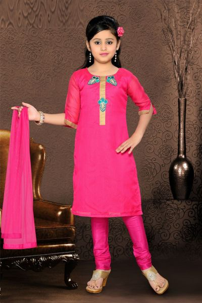 Dark Pink Chanderi Girls Salwar Kameez (NFG-071)
