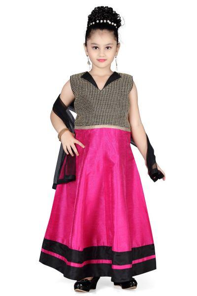 Dark Pink Cotton Silk Girls Salwar Kameez (NFG-111)
