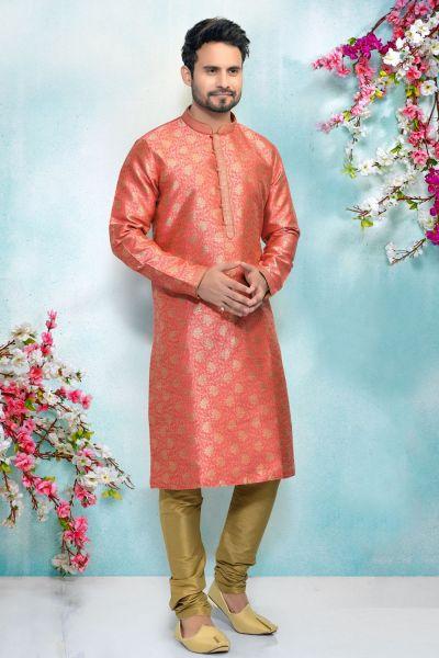 Dark Pink Jaquard Silk Brocade Kurta Pajama (NMK-4898)