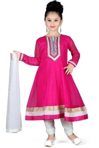 Dark Pink Net Girls Salwar Kameez (NFG-108)