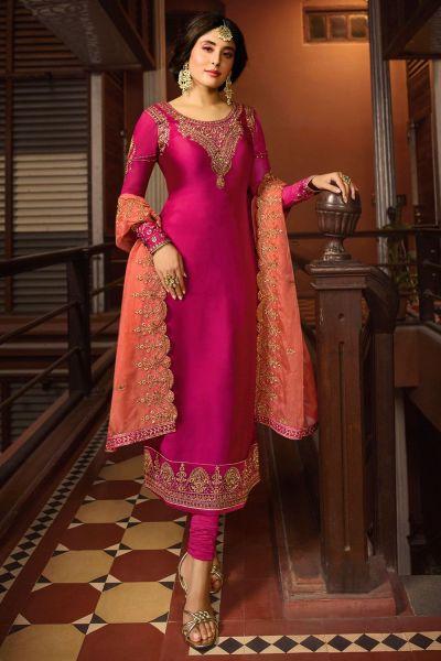 Dark Pink Satin Georgette Salwar Suit (NWS-4623)