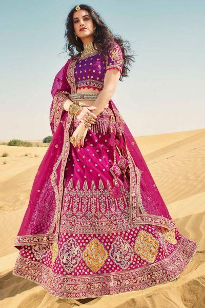 Dark Pink Silk Lehenga Choli (NWG-664)