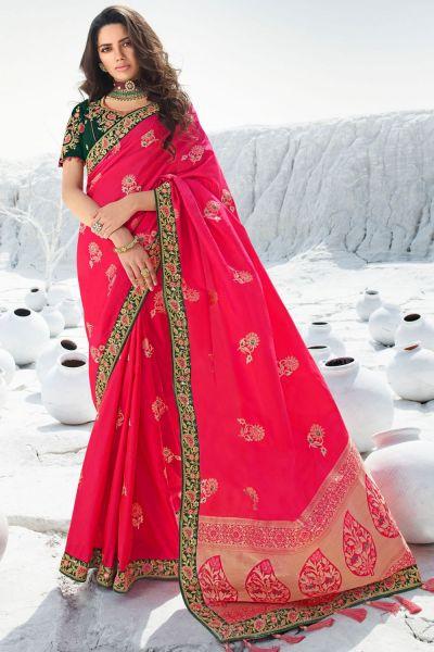 Dark Pink Silk Saree (NWSA-5055)