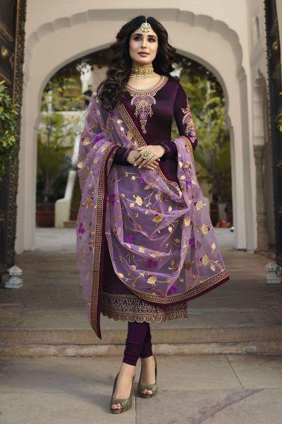 Dark Purple Satin Georgette Salwar Kameez (NWS-4609)