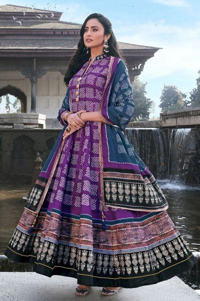 Dark Violet Silk Salwar Kameez (NWS-6018)