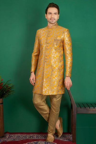 Dark Yellow Gold Jaquard Silk Brocade Indo western (NMK-3860)