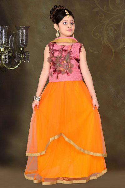 Dusty Pink Net Kids Lehenga Choli (NFG-057)