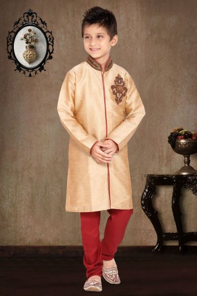 Fawn Art Dupion Kids Sherwani (NKK-470)