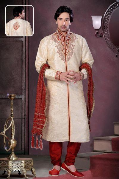 Fawn Art Dupion Silk Kurta Pajama for Men (NMK-1554)