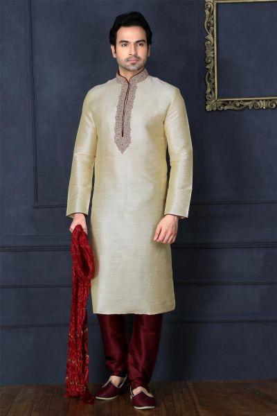 Gold Art Banarasi Silk Casual Kurta Pajama (NMK-3742)