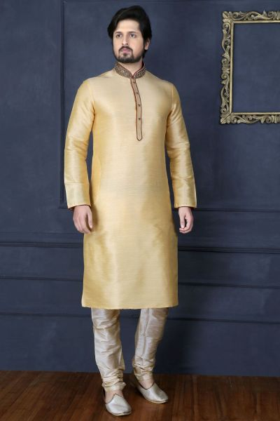 Gold Art Banarasi Silk Designer Kurta Pajama (NMK-3670)