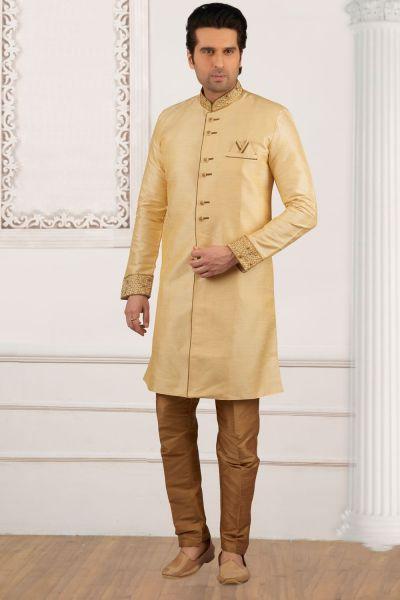 Gold Art Banarasi Silk Indo Western Kurta (NMK-4048)