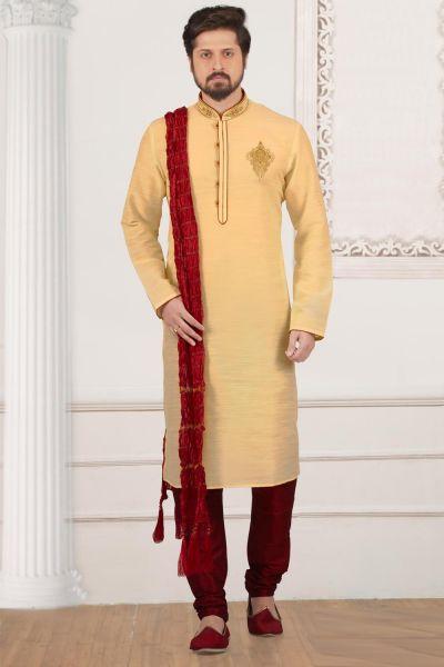 Gold Art Banarasi Silk Kurta Pajama (NMK-3980)