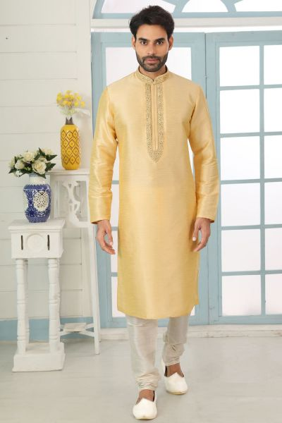 Gold Art Banarasi Silk Kurta Pajama (NMK-5048)