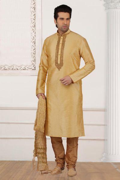 Gold Art Banarasi Silk Kurtas for Men (NMK-4003)