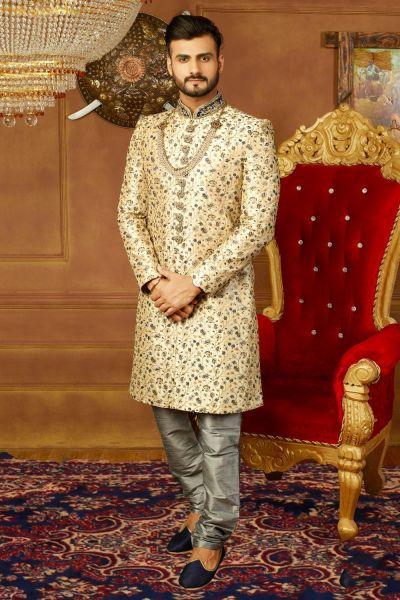 Gold Art Banarasi Silk Mens Designer Sherwani (NMK-3909)