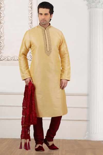 Gold Art Banarasi Silk Mens Kurta Pajama (NMK-3999)