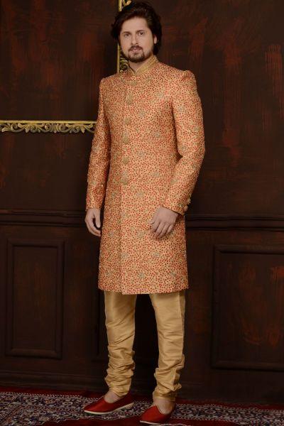 Gold Art Banarasi Silk Sherwani (NMK-3604)