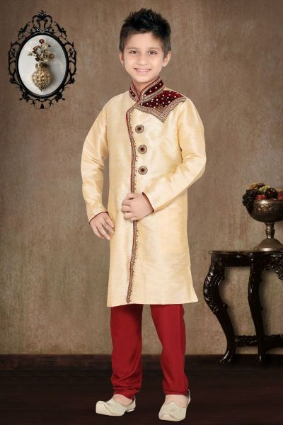 Gold Art Dupion Kids Sherwani (NKK-466)