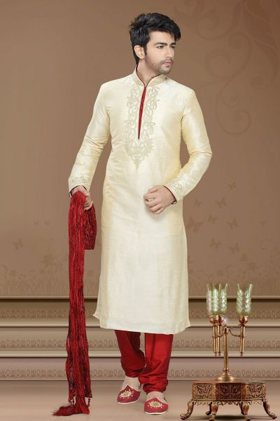 Gold Art Silk Designer Kurta Pajama (NMK-2262)