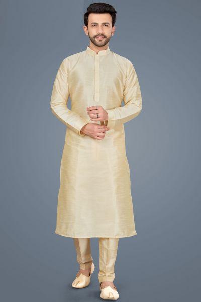 Gold Art Silk Kurta Pajama (NMK-5139)