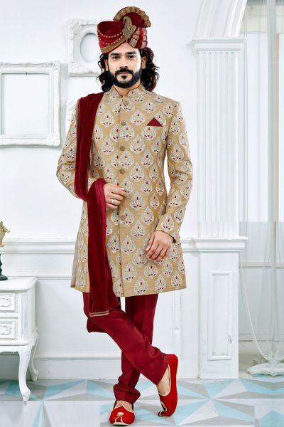 Gold Art Silk Sherwani (NMK-4118)