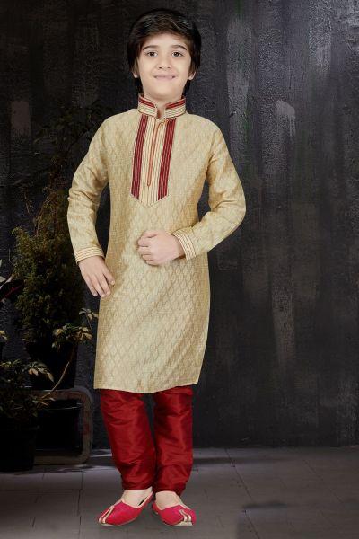 Gold Banarasi Jaquard Boys Kurta (NKK-572)