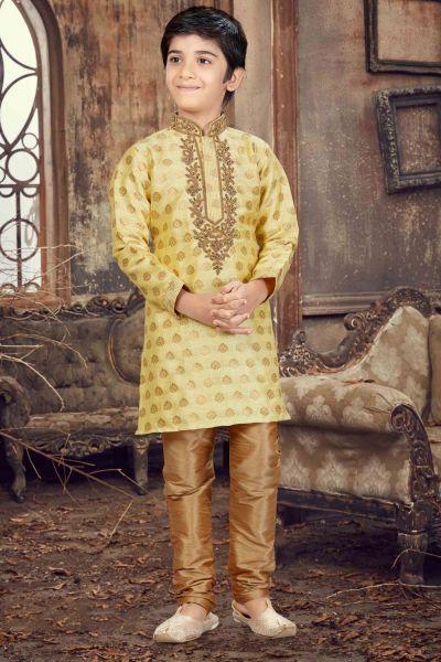 Gold Banarasi Jaquard Kids Kurta Pajama (NKK-615)