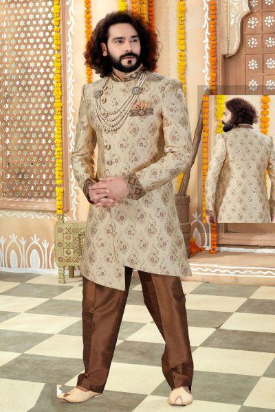 Gold Banarasi Silk Sherwani (NMK-4322)