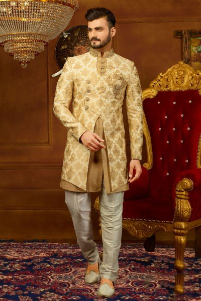 Gold, Beige Jaquard Silk Brocade Indo Western (NMK-3947)