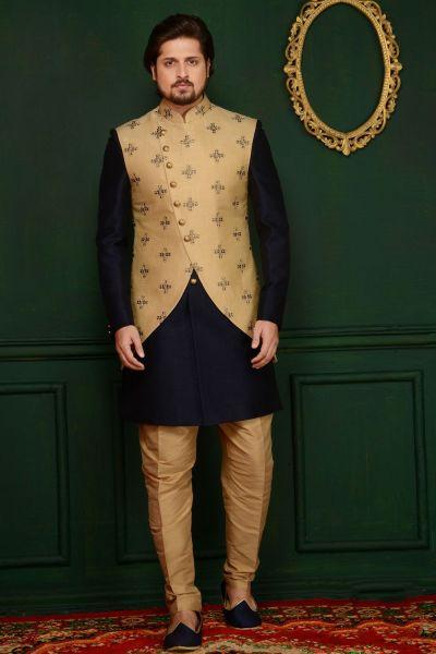 Gold, Blue Art Banarasi Silk Indo Western (NMK-3660)
