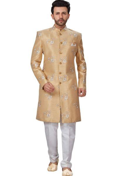 Gold Dupion Silk Grooms Sherwani (NMK-4948)