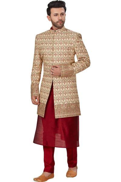 Gold Dupion Silk Sherwani for Men (NMK-4957)