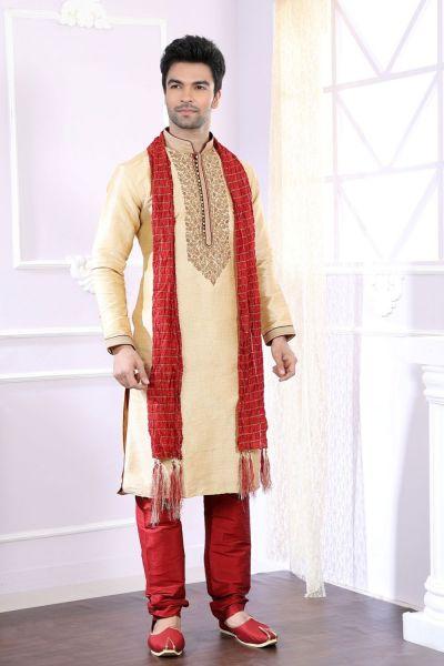 Gold Giccha Silk Designer Kurta Pajama (NMK-4053)
