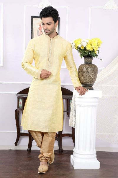 Gold Giccha Silk Kurta Pajama for Men (NMK-4068)
