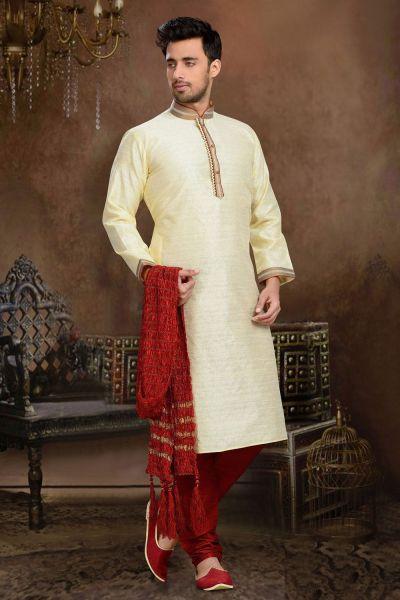 Gold Jaquard Art Silk Kurta Pajama (NMK-3120)