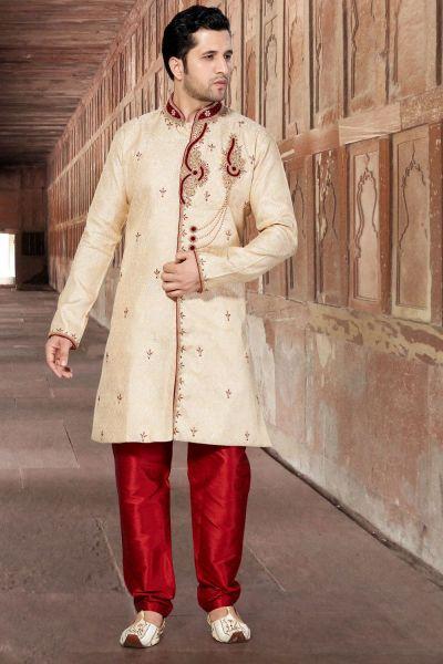 Gold Jaquard Men's Indo Western (NMK-2858)