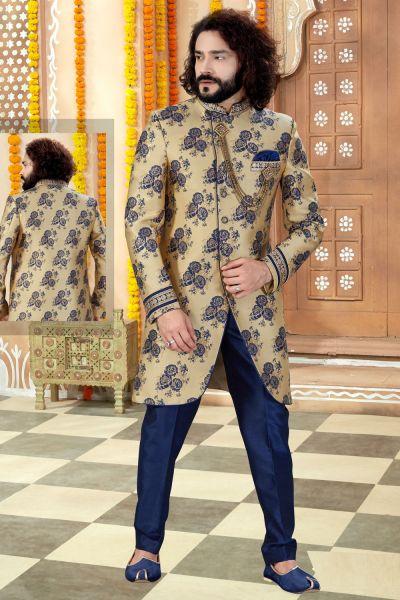 Gold Jaquard Mens Sherwani (NMK-4355)