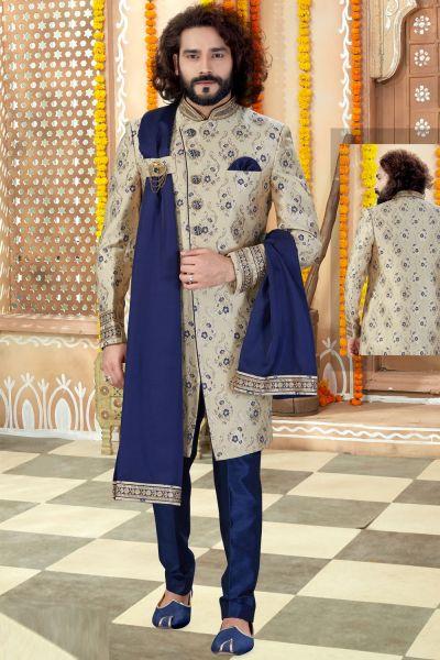 Gold Jaquard Sherwani (NMK-4359)