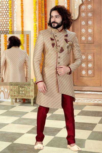 Gold Jaquard Sherwani (NMK-4360)