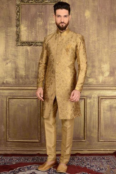 Gold Jaquard Silk Brocade Indo western for Men (NMK-3585)