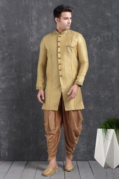Gold Jaquard Silk Brocade Indo Western Kurta (NMK-5002)