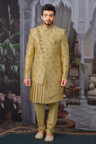 Gold Jaquard Silk Brocade Indo Western (NMK-4762)