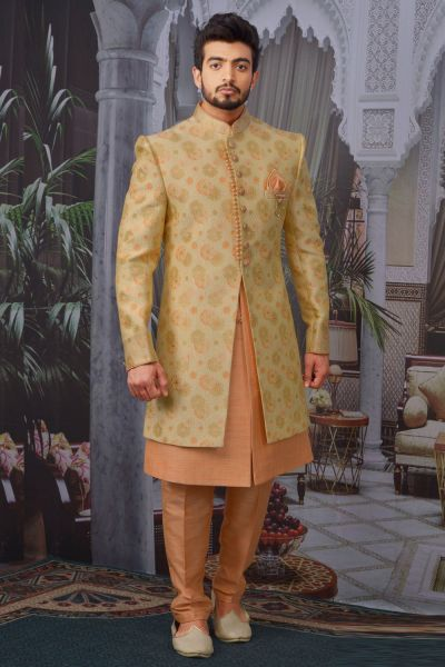 Gold Jaquard Silk Brocade Indo Western (NMK-4764)