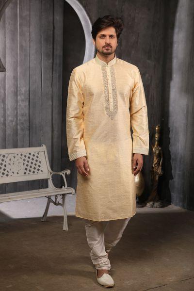 Gold Jaquard Silk Brocade Kurta Pajama (NMK-4381)